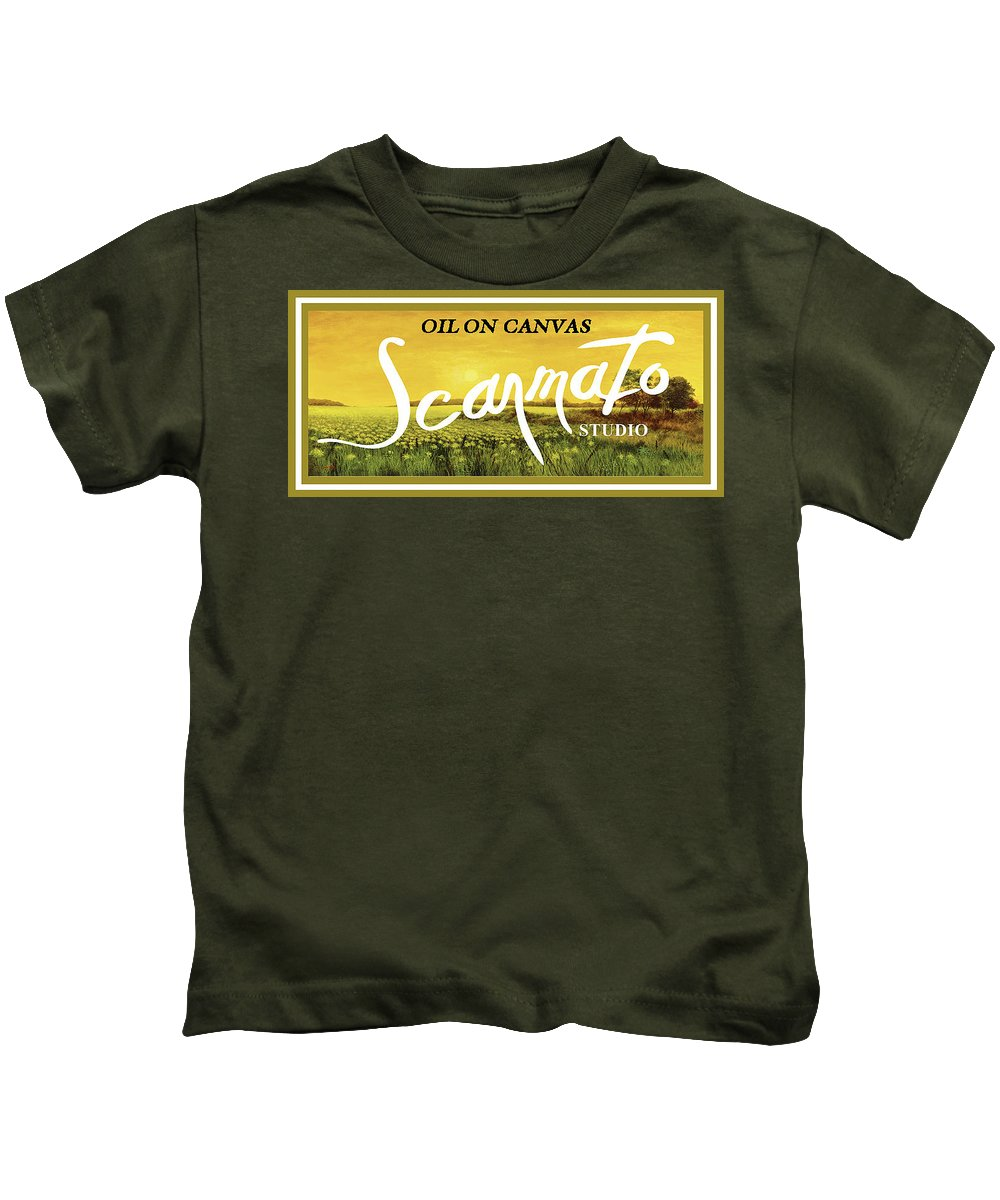 Kids T-Shirt featuring the painting Oil On Canvas by Tony Scarmato
