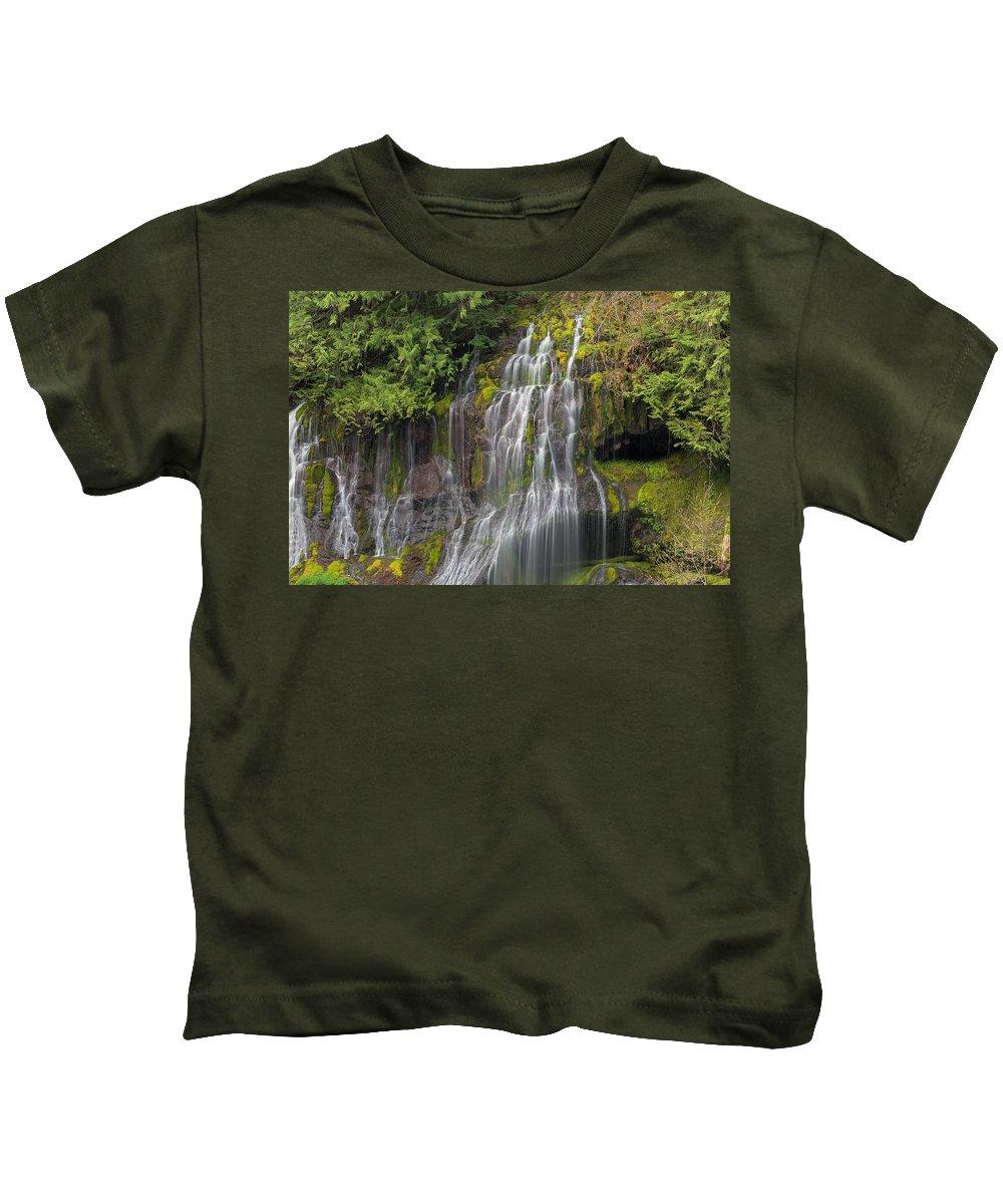Panther Creek Falls Kids T-Shirt featuring the photograph Panther Creek Falls by David Gn