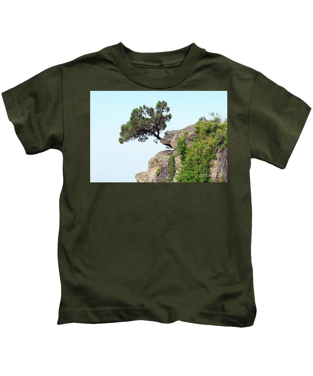 Pine-tree Kids T-Shirt featuring the photograph Pine Tree On A Rock by Goce Risteski