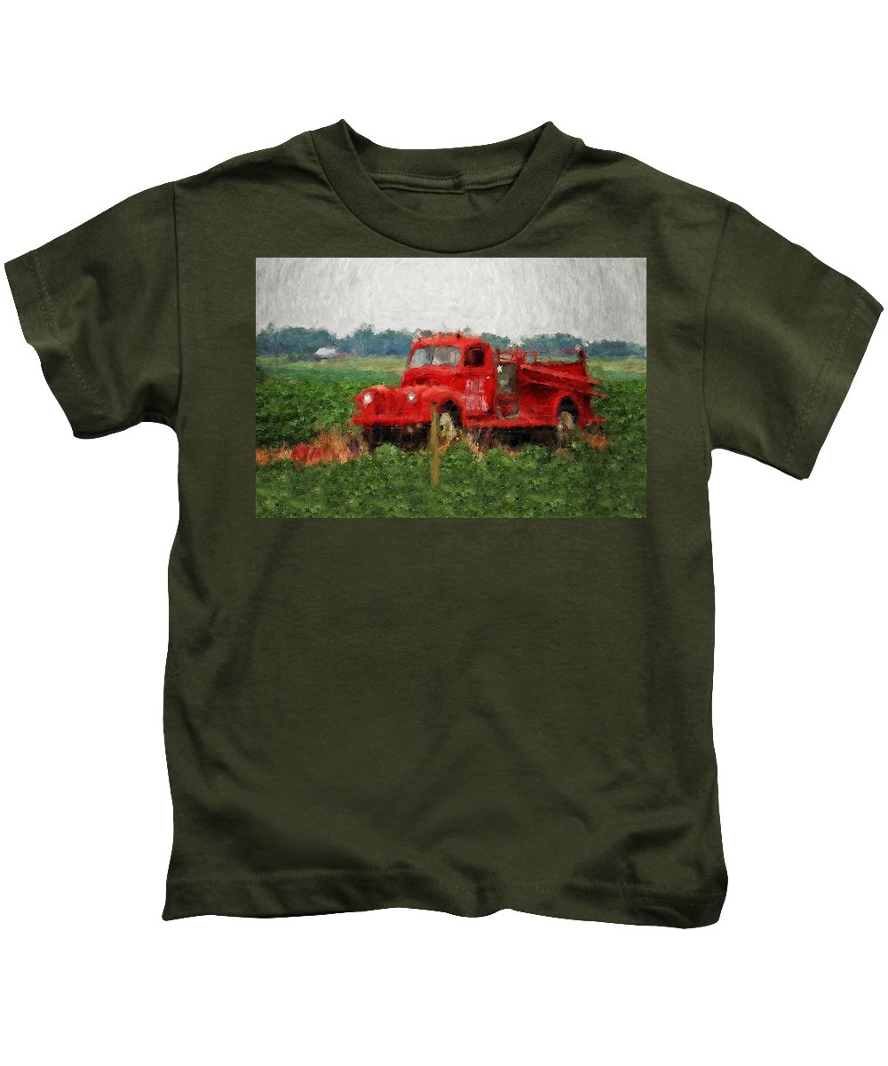 Fire Kids T-Shirt featuring the painting Red Fire Truck by Michael Thomas