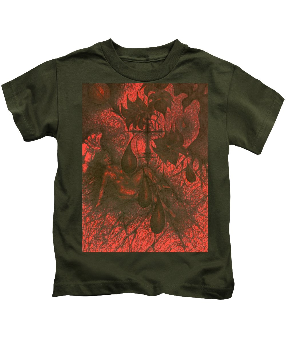Naive Kids T-Shirt featuring the painting Red Hell by Wojtek Kowalski