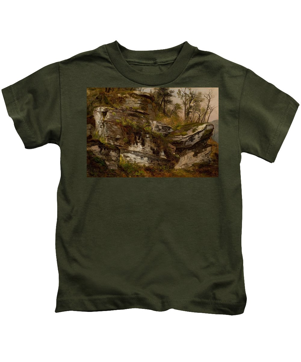 Rocky Cliff Kids T-Shirt featuring the painting Rocky Cliff by MotionAge Designs