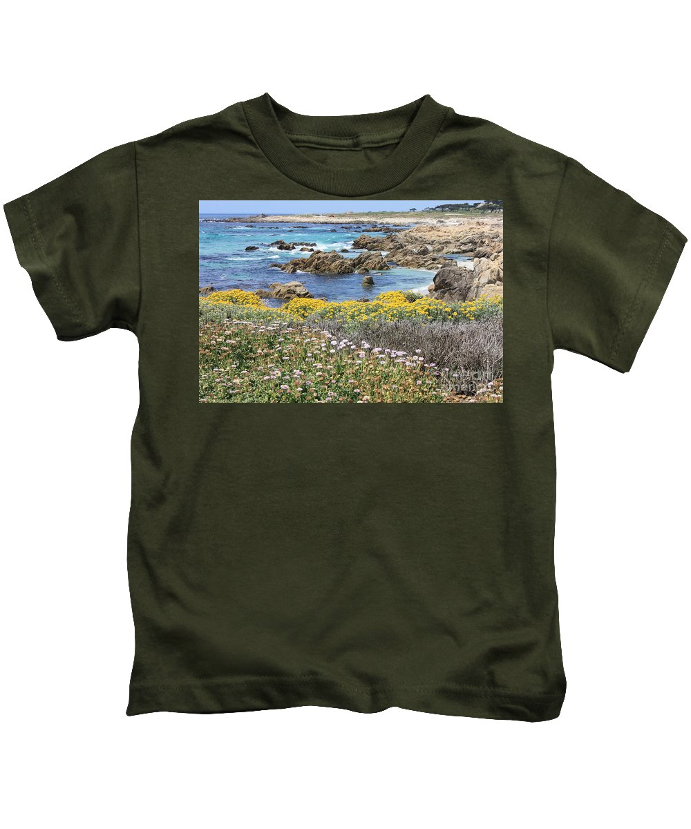 California Kids T-Shirt featuring the photograph Rocky Surf With Wildflowers by Carol Groenen