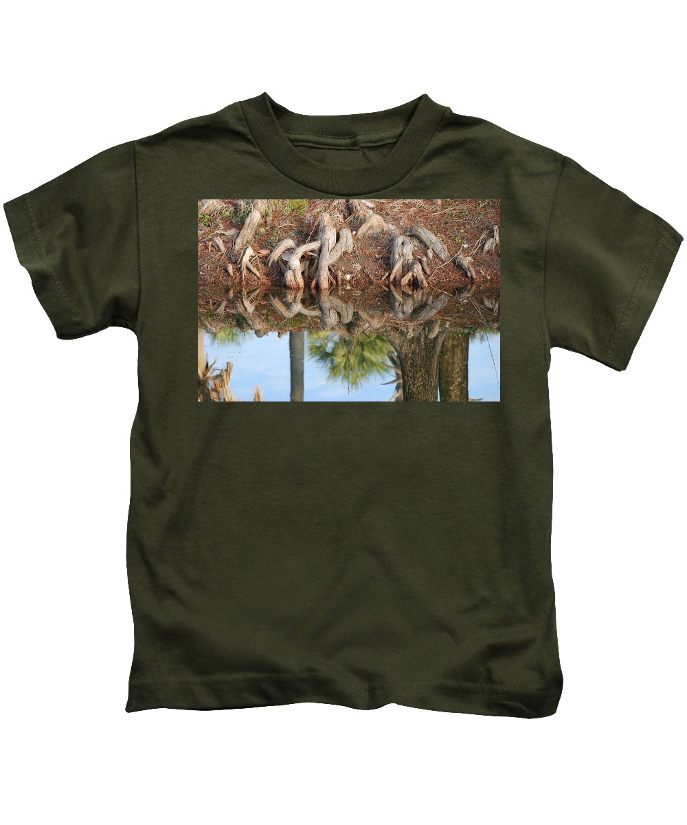 Roots Kids T-Shirt featuring the photograph Rooted Reflections by Rob Hans