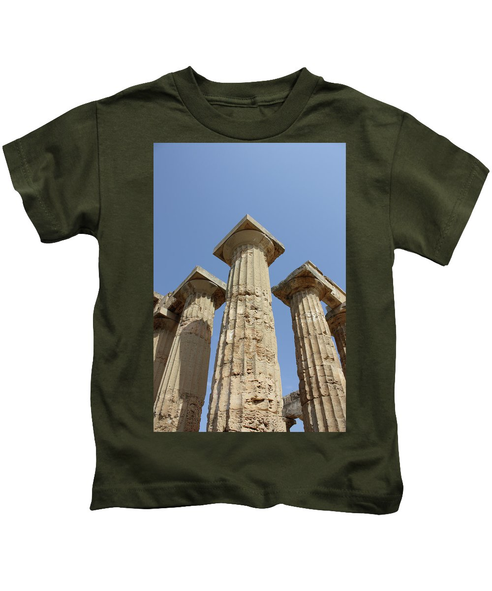 Aged Kids T-Shirt featuring the photograph Segesta Greek Temple In Sicily, Italy by Paolo Modena