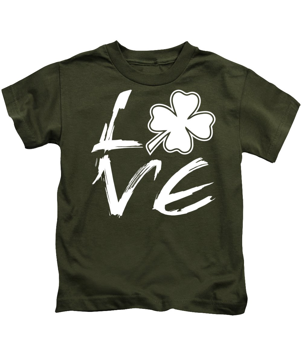 Patrick's Day Kids T-Shirt featuring the drawing St. Patrick's Day - Love by Ozdilh Design