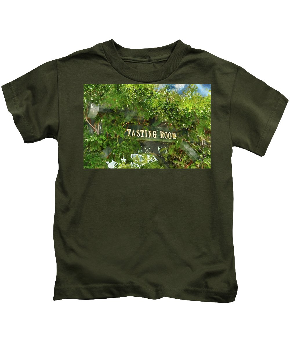 Green Kids T-Shirt featuring the photograph Tasting Room Sign by Brandon Bourdages