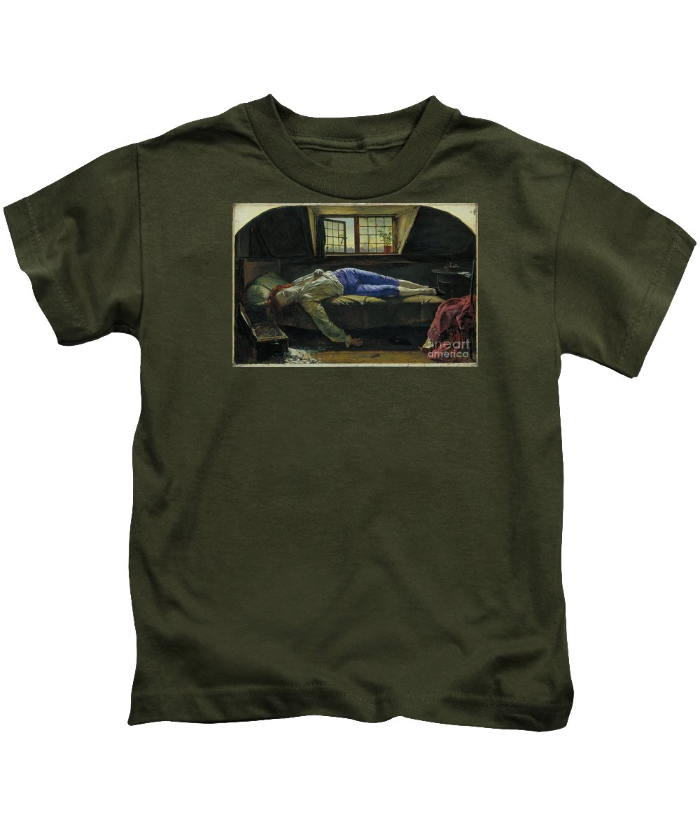 The Death Of Chatterton By Henry Wallis Kids T-Shirt featuring the painting The Death Of Chatterton by MotionAge Designs