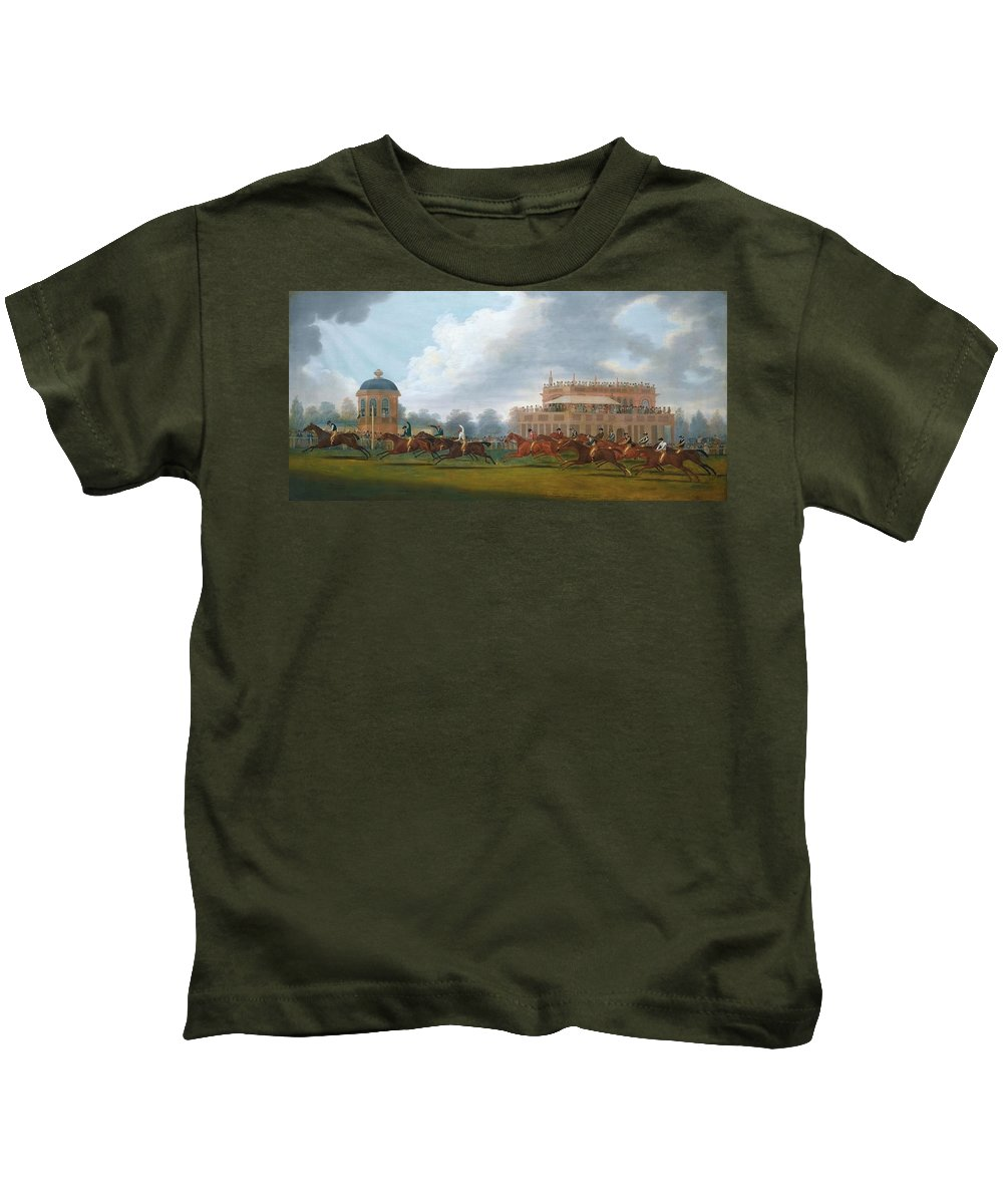 Clifton Tomson Nottingham 1775 - 1828 The Finish Of The St. Leger Stakes Kids T-Shirt featuring the painting The Finish Of The St. Leger Stakes by Clifton Tomson