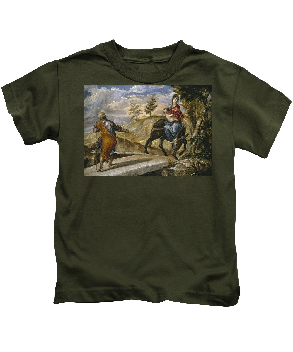 Blessed Virgin Mary Kids T-Shirt featuring the painting The Flight Into Egypt by El Greco