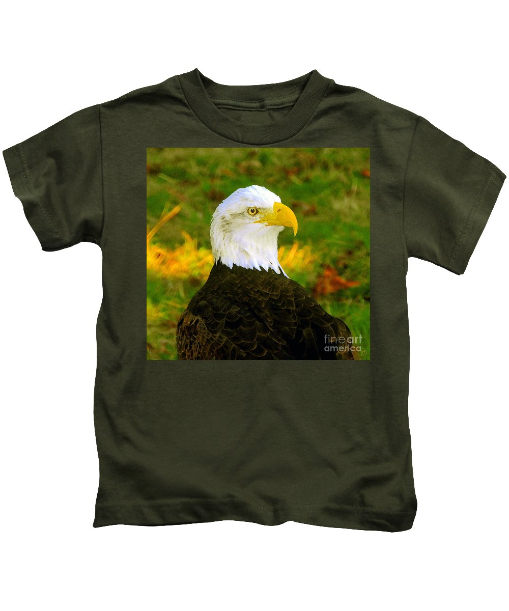 Bald Eagle Kids T-Shirt featuring the painting The Great Bald Eagle by David Lee Thompson