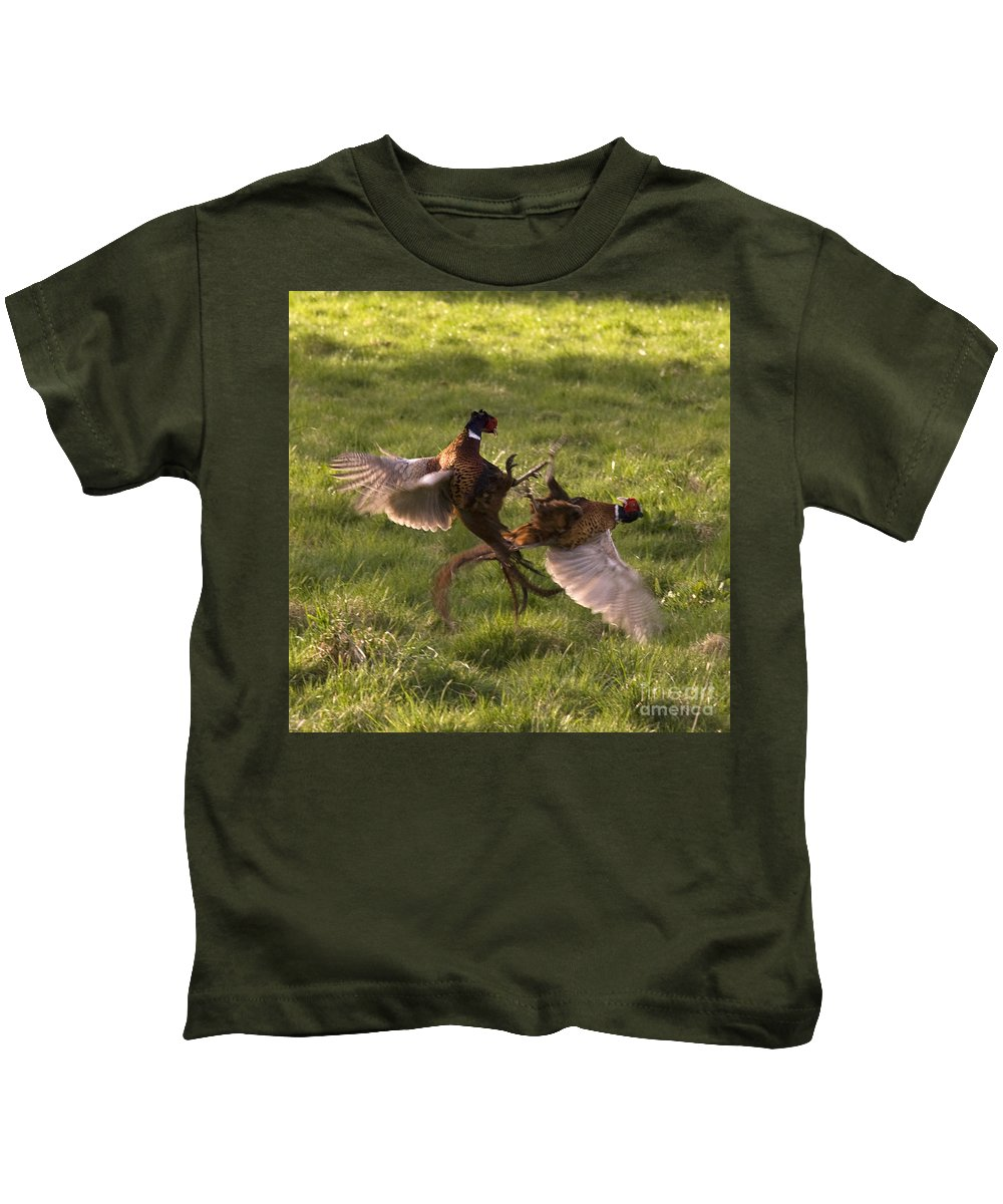 Pheasant Kids T-Shirt featuring the photograph The Sparring by Angel Tarantella