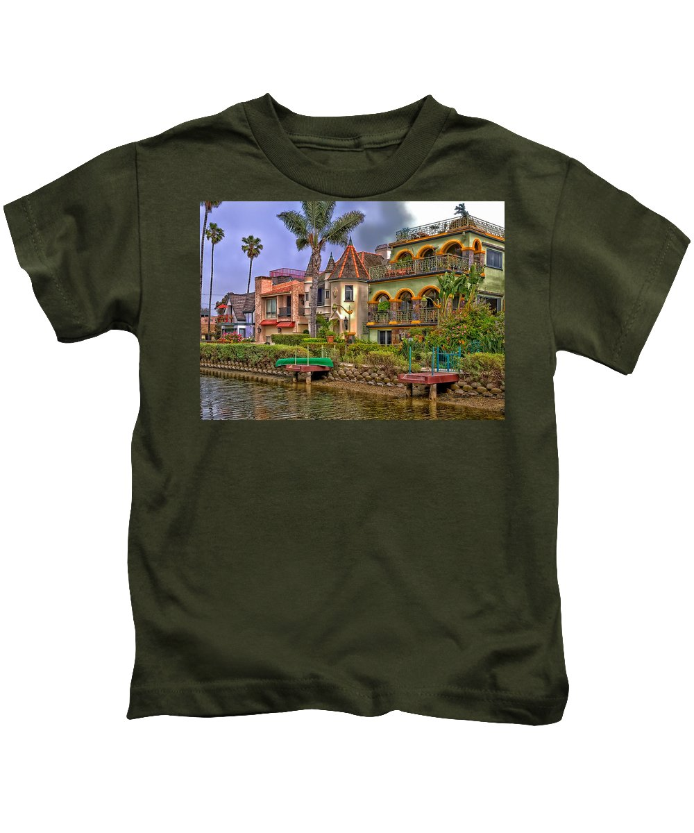 Venice Kids T-Shirt featuring the photograph The Venice Canal Historic District by Mountain Dreams