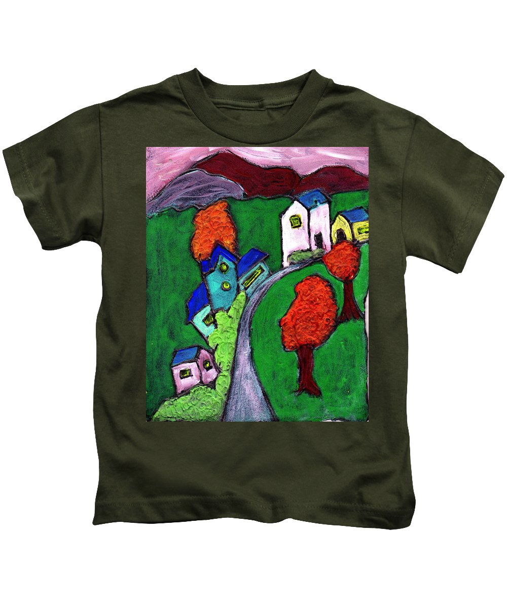 Whimsical Kids T-Shirt featuring the painting There Was A Crooked House by Wayne Potrafka