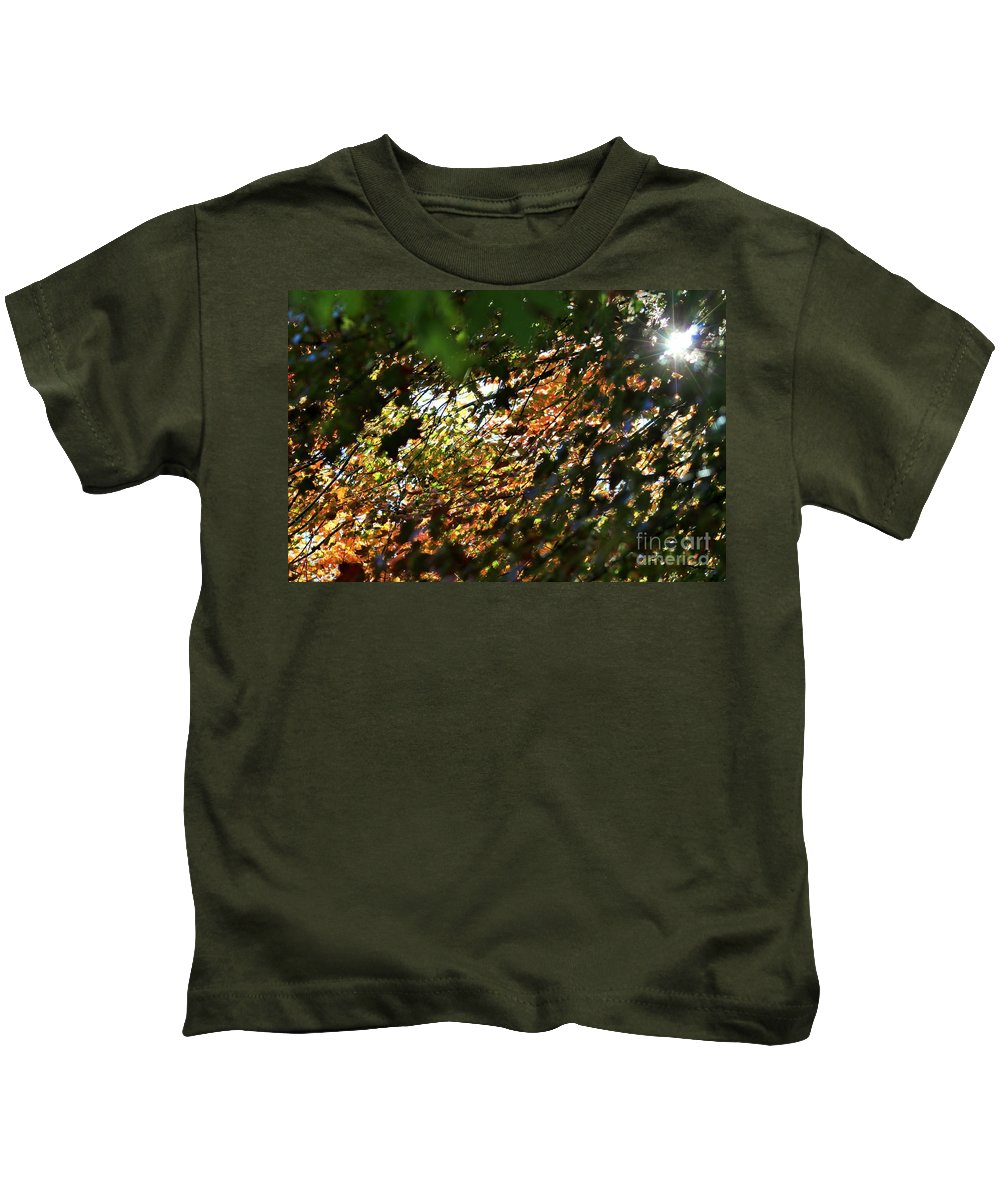 Autumn Kids T-Shirt featuring the photograph Through The Leaves by LKB Art and Photography