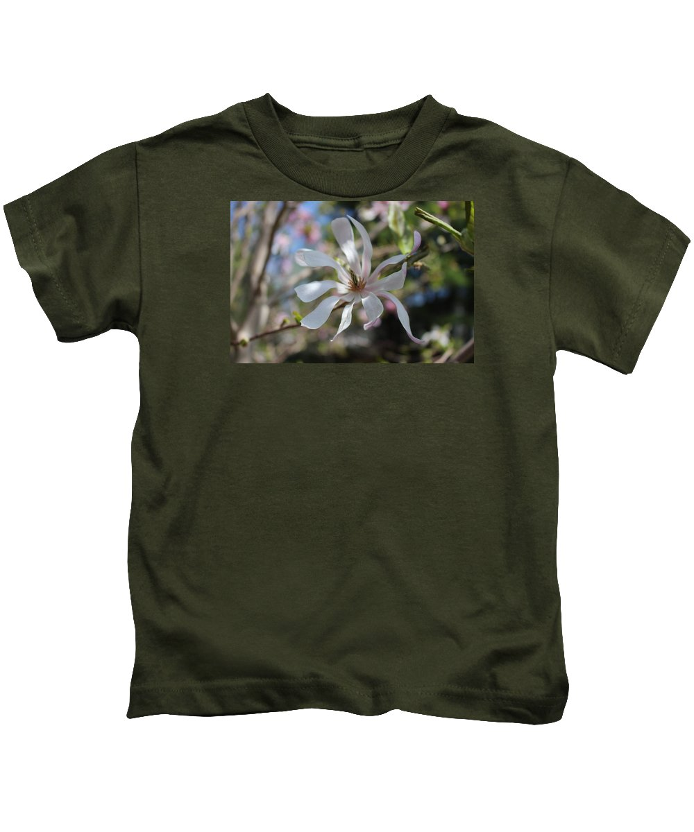 Tree White Flowers Springtime Nature Kids T-Shirt featuring the photograph Pink Flower by Coralynn Gutierrez