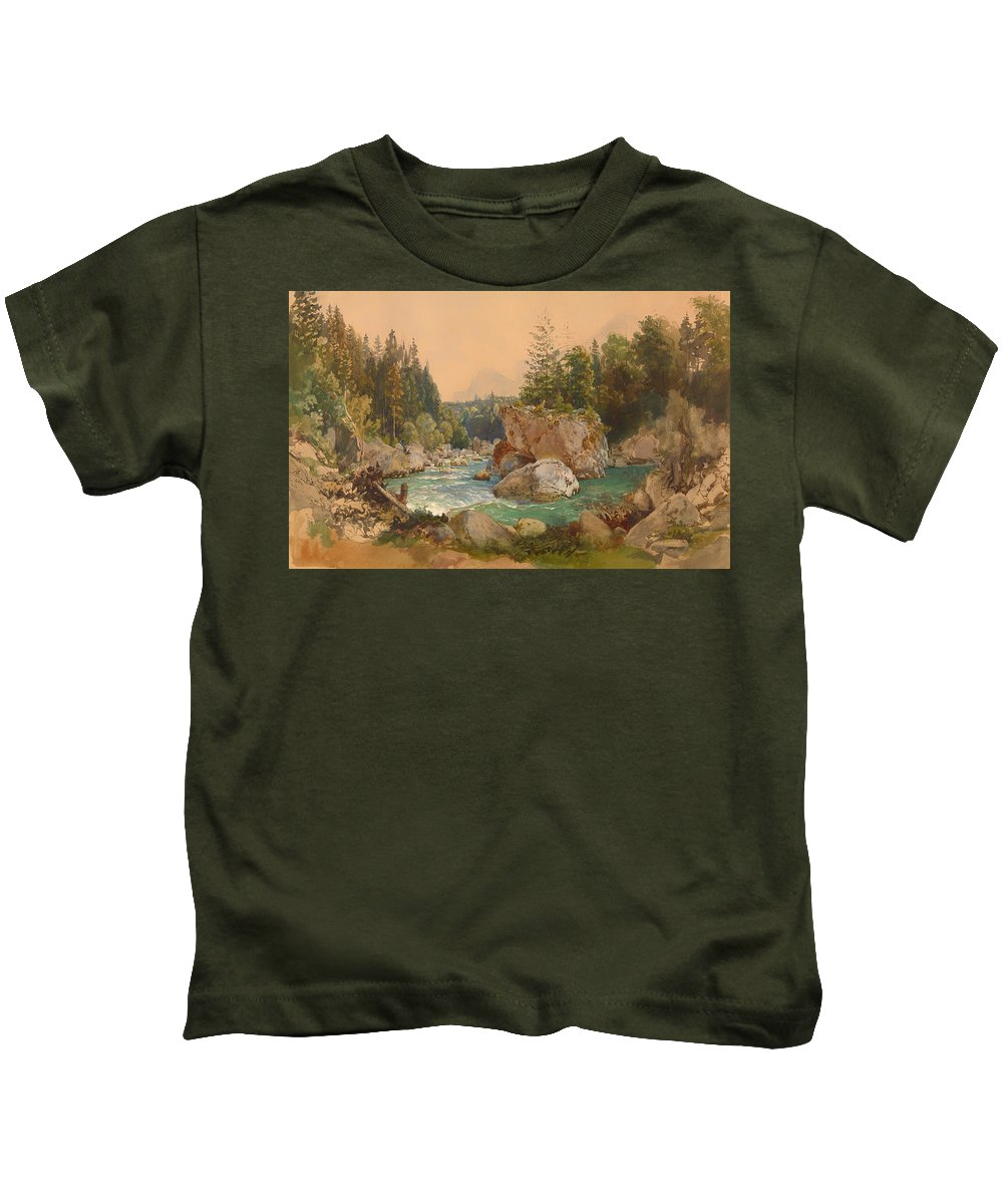 Painting Kids T-Shirt featuring the painting Wooded River Landscape In The Alps by Mountain Dreams