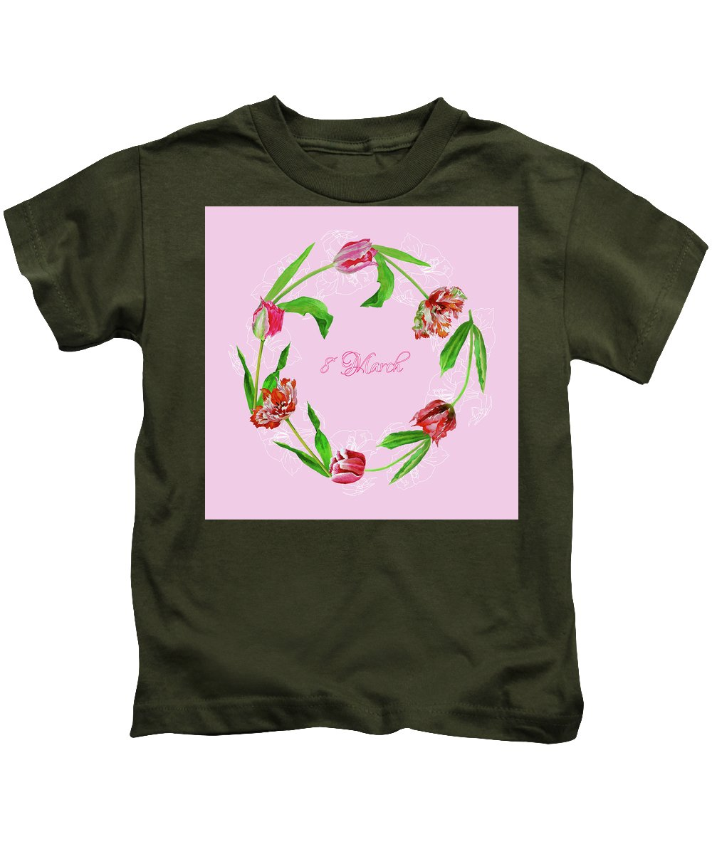 Bouquet Kids T-Shirt featuring the digital art Wreath With Tulips by Natalia Piacheva