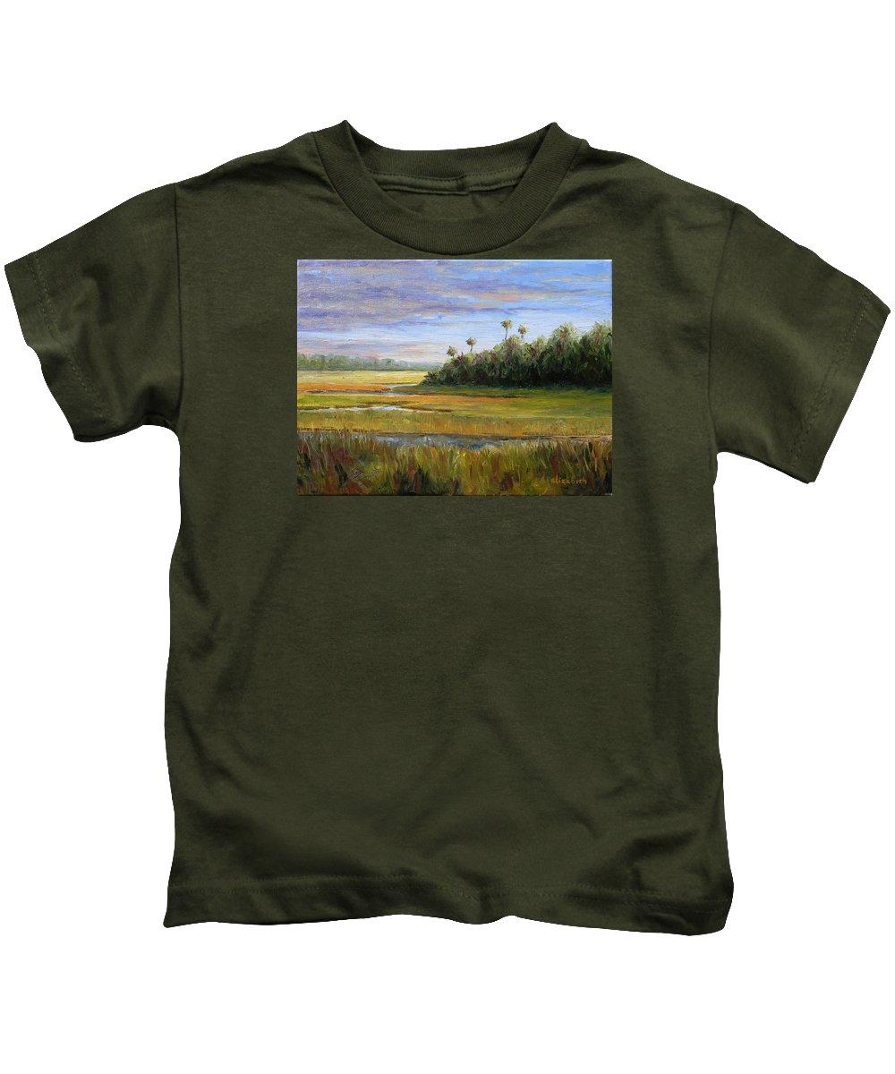 Marsh Kids T-Shirt featuring the painting Yellow Marsh by Beth Maddox