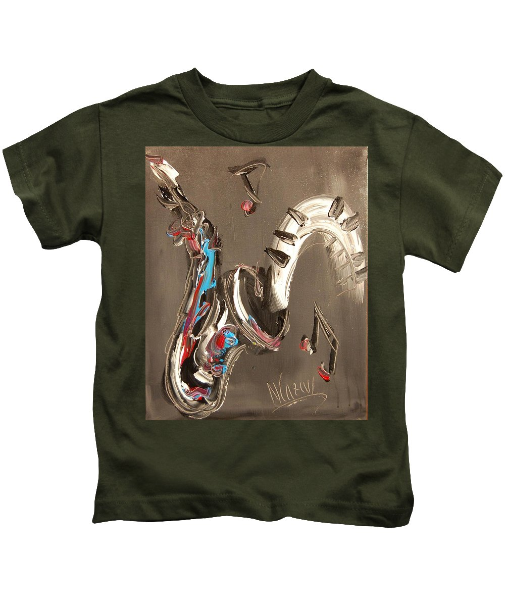 Music Jazz Piano Red Landscape Framed Prints Kids T-Shirt featuring the mixed media Saxophone by Mark Kazav