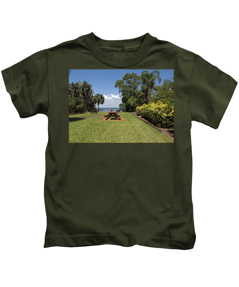 Riverfront Kids T-Shirt featuring the photograph Indian River Lagoon by Allan Hughes