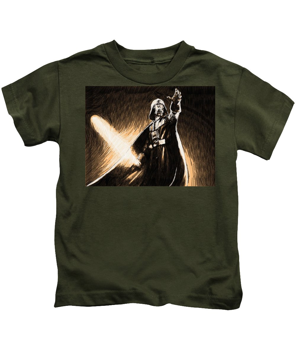 Star Wars Kids T-Shirt featuring the digital art The Star Wars Poster by Larry Jones
