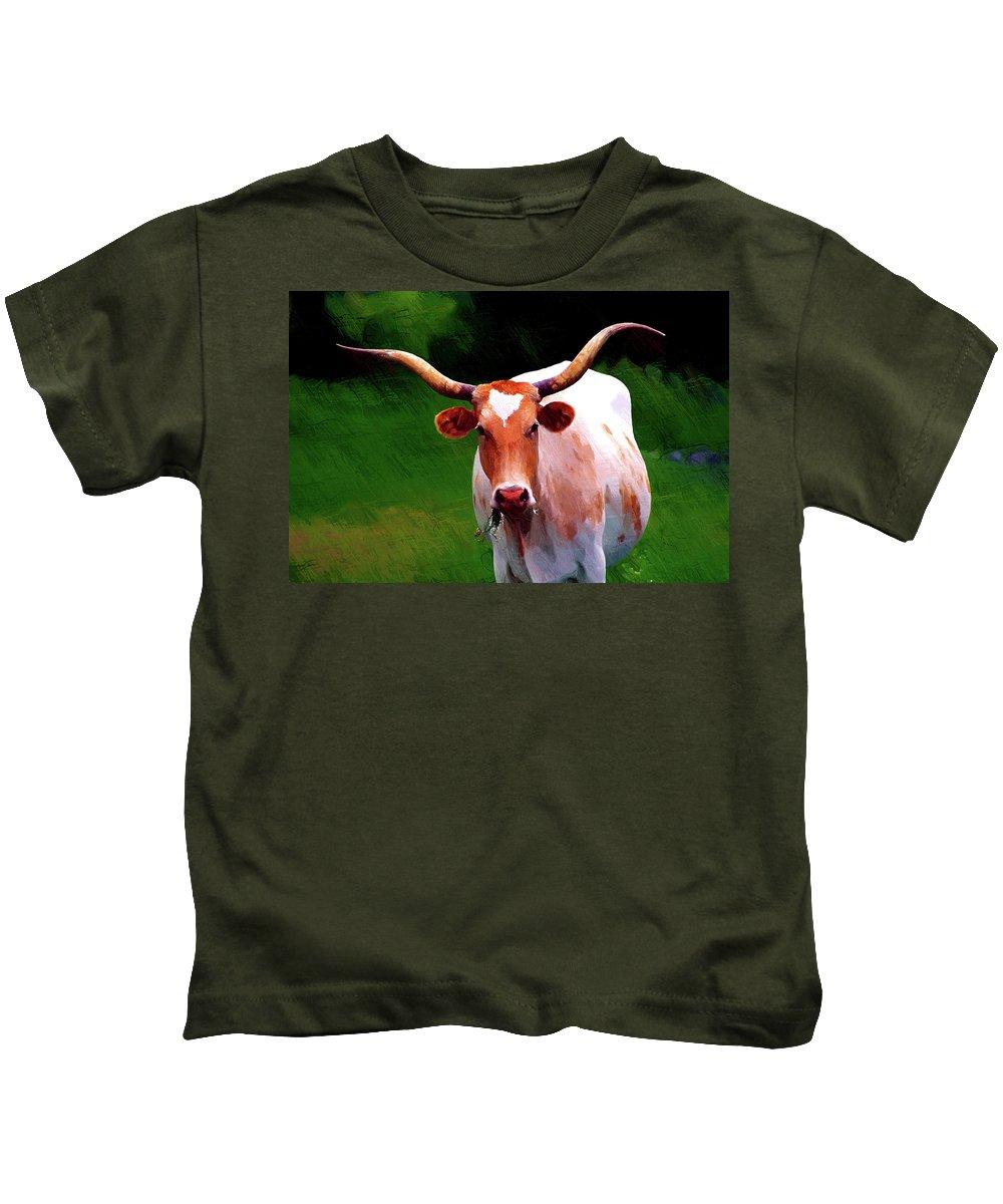 Beast Kids T-Shirt featuring the digital art Buffalo by Nadezhda Zhuravleva