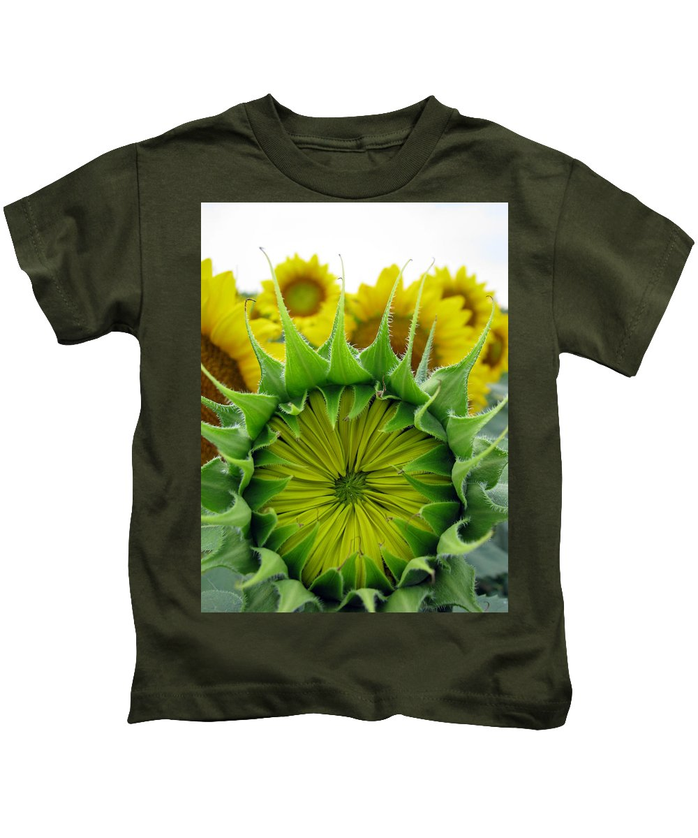 Sunflwoers Kids T-Shirt featuring the photograph Sunflower Series by Amanda Barcon
