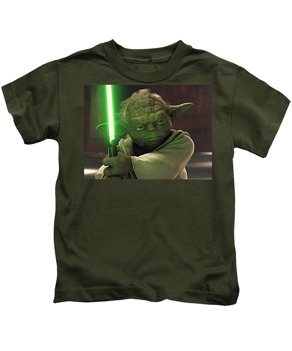 Star Wars Kids T-Shirt featuring the digital art Collection Star Wars Poster by Larry Jones