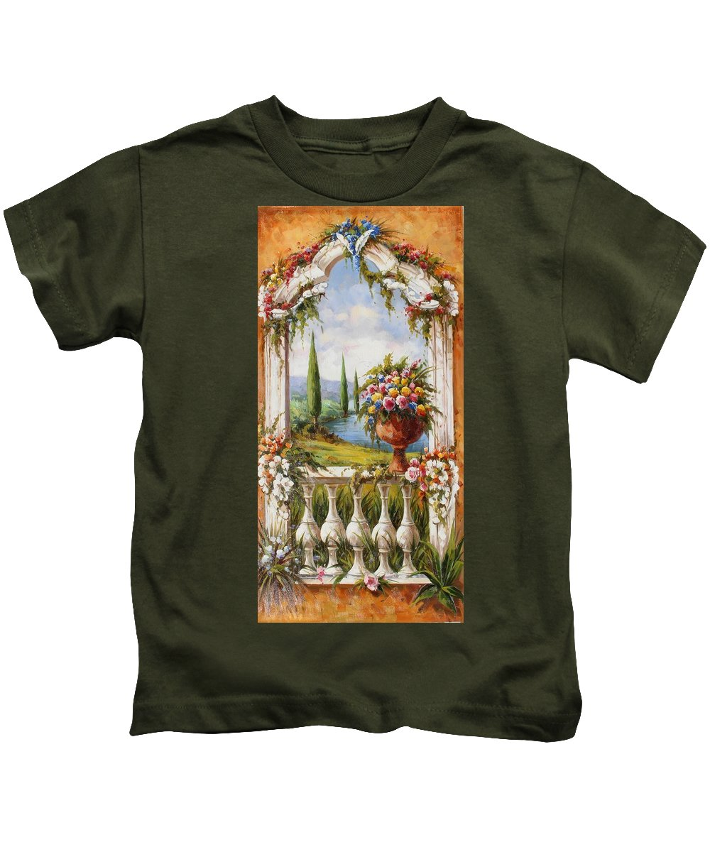 Castles Kids T-Shirt featuring the painting Italian Historical Villas by Lucio Campana
