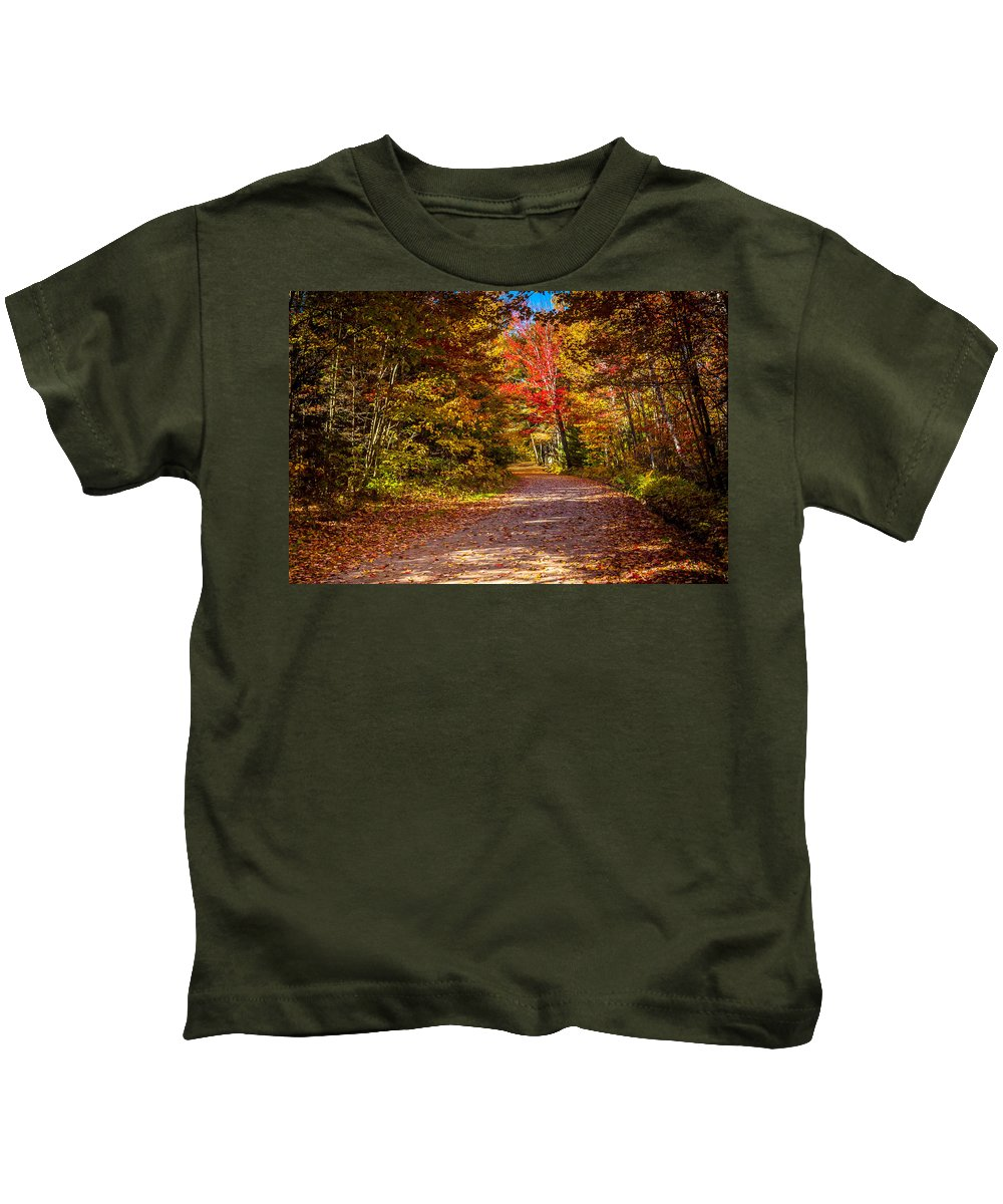 America Kids T-Shirt featuring the photograph Autumn Season In Killarney by Aqnus Febriyant
