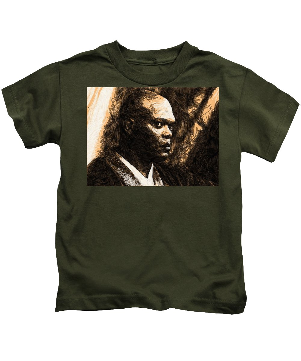 Star Wars Kids T-Shirt featuring the digital art Trilogy Star Wars Poster by Larry Jones
