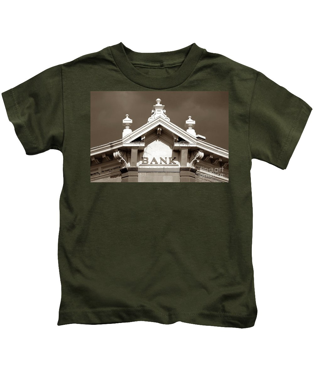 Fine Art Photography Kids T-Shirt featuring the photograph 1880 Bank by David Lee Thompson
