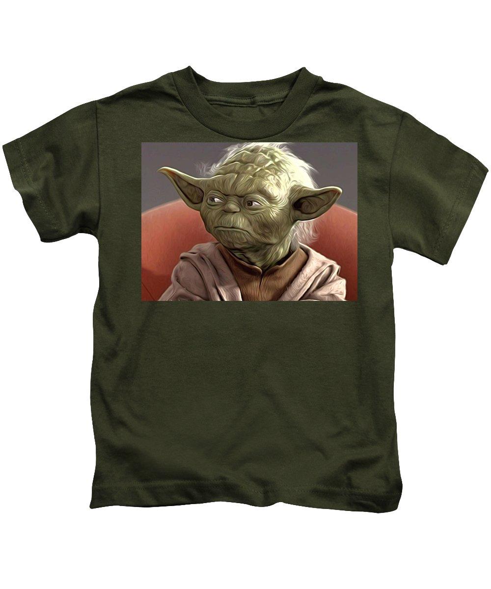 Star Wars Kids T-Shirt featuring the digital art Saga Star Wars Poster by Larry Jones