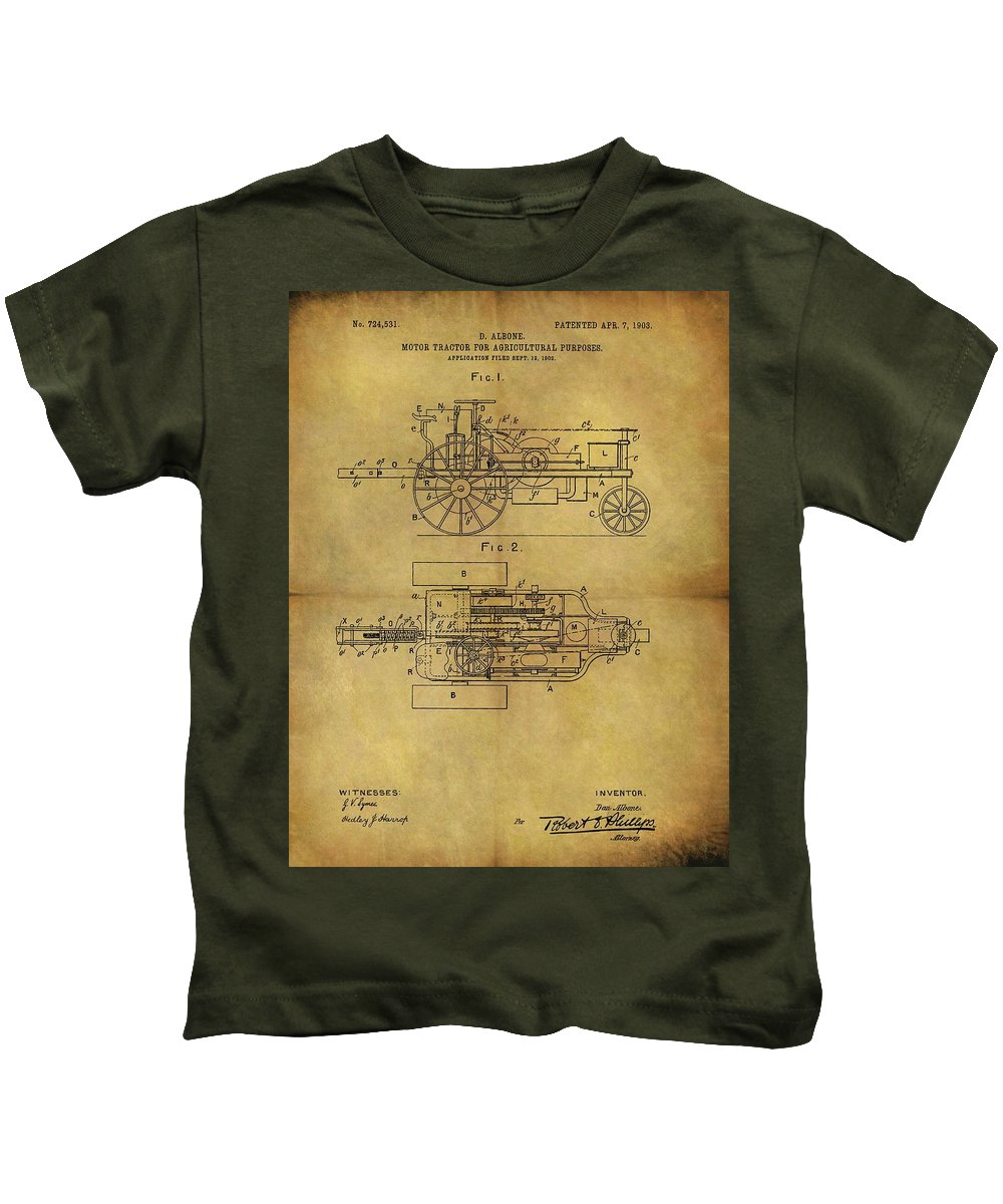 1903 Tractor Patent Kids T-Shirt featuring the drawing 1903 Tractor Patent by Dan Sproul
