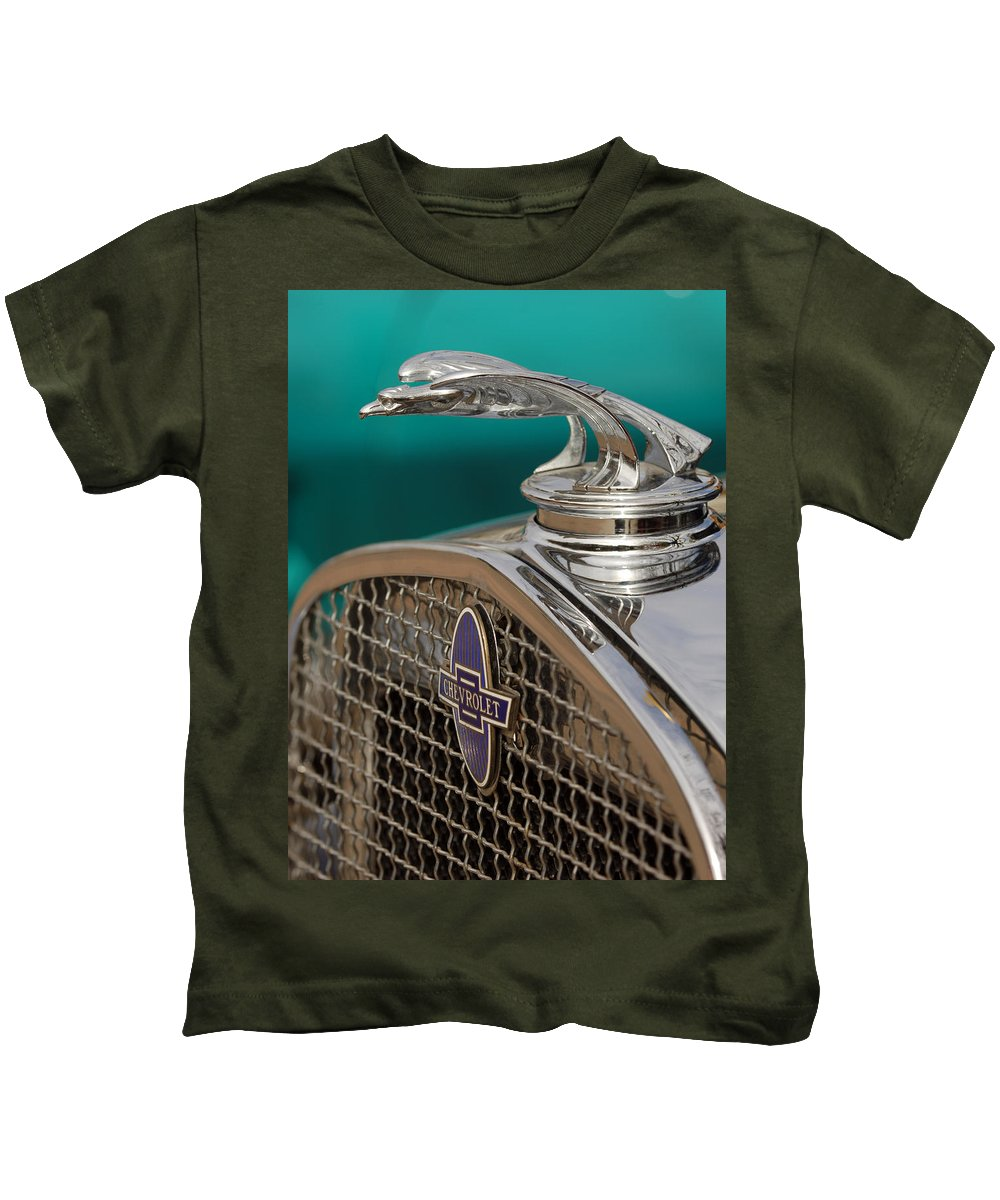 Car Kids T-Shirt featuring the photograph 1931 Chevrolet Hood Ornament by Jill Reger