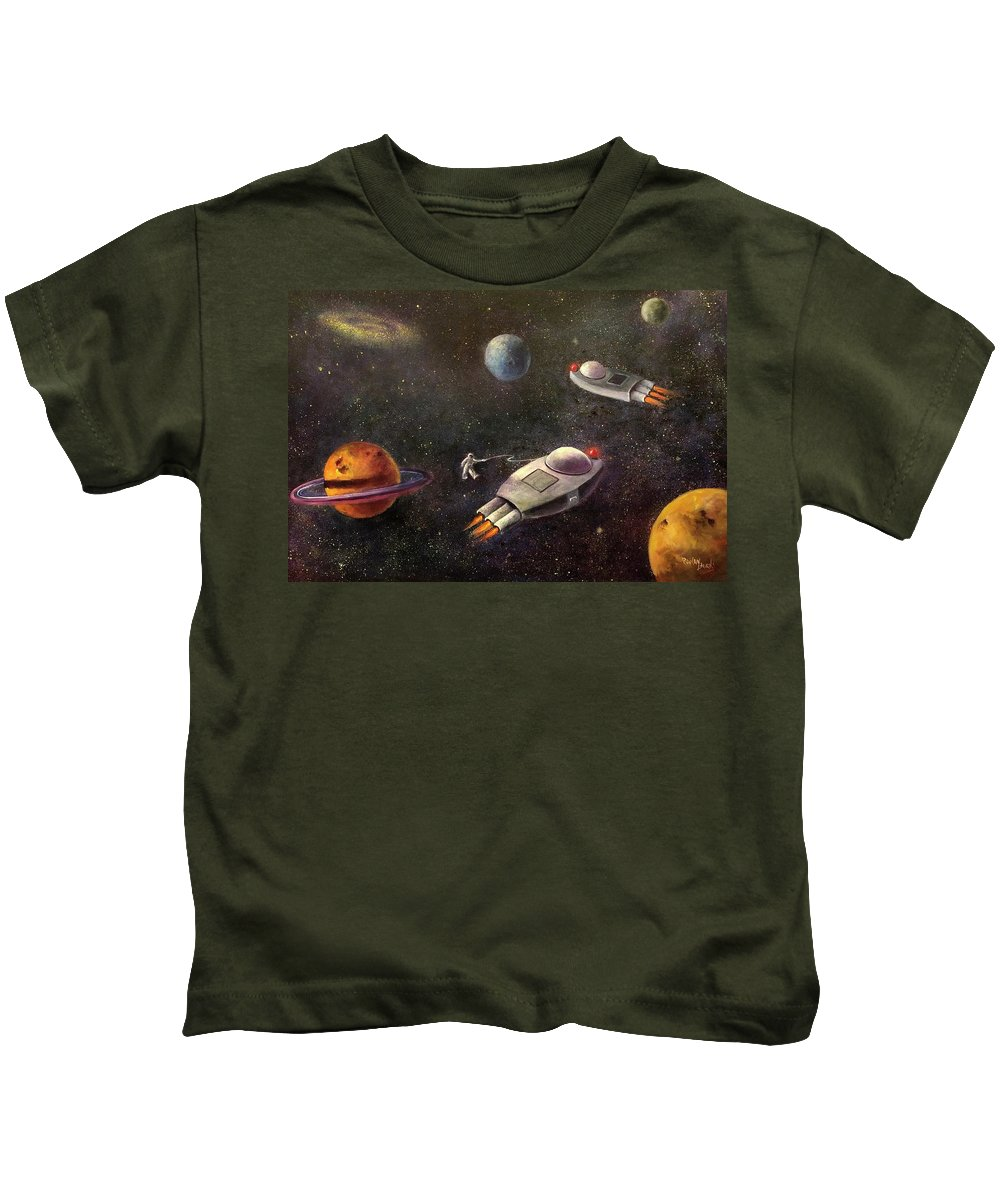 Outer Space Kids T-Shirt featuring the painting 1960s Outer Space Adventure by Randy Burns