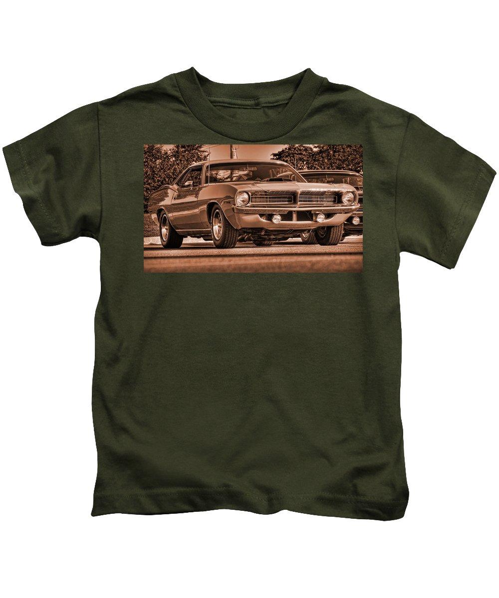 Sepia Kids T-Shirt featuring the photograph 1970 Plymouth Hemi 'cuda by Gordon Dean II