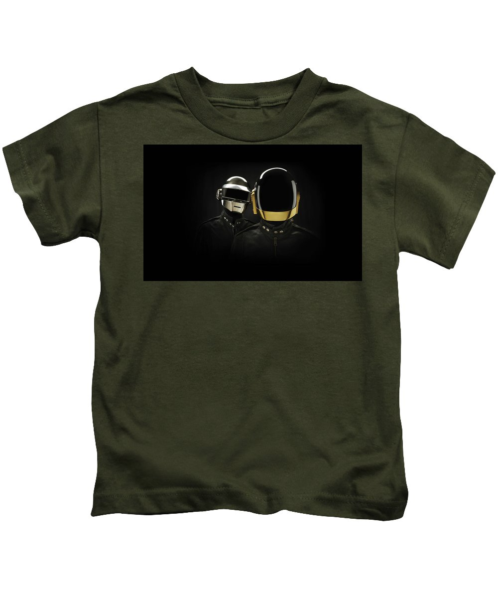 Daft Punk Kids T-Shirt featuring the digital art 19863 Daft Punk by Anne Pool