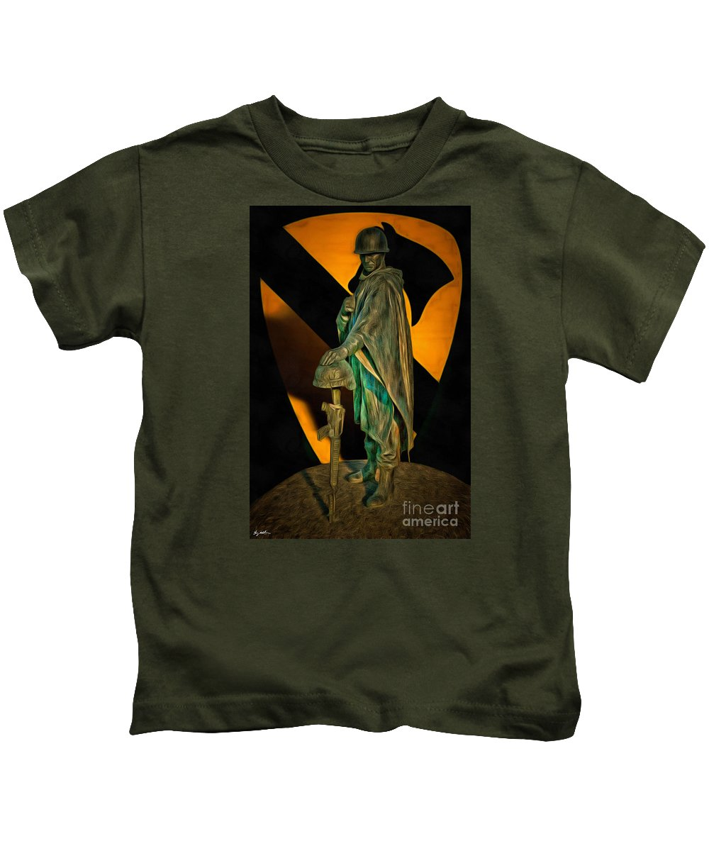 Soldier Kids T-Shirt featuring the digital art 1st Cav History - Respect From Another Trooper To Another - Oil by Tommy Anderson