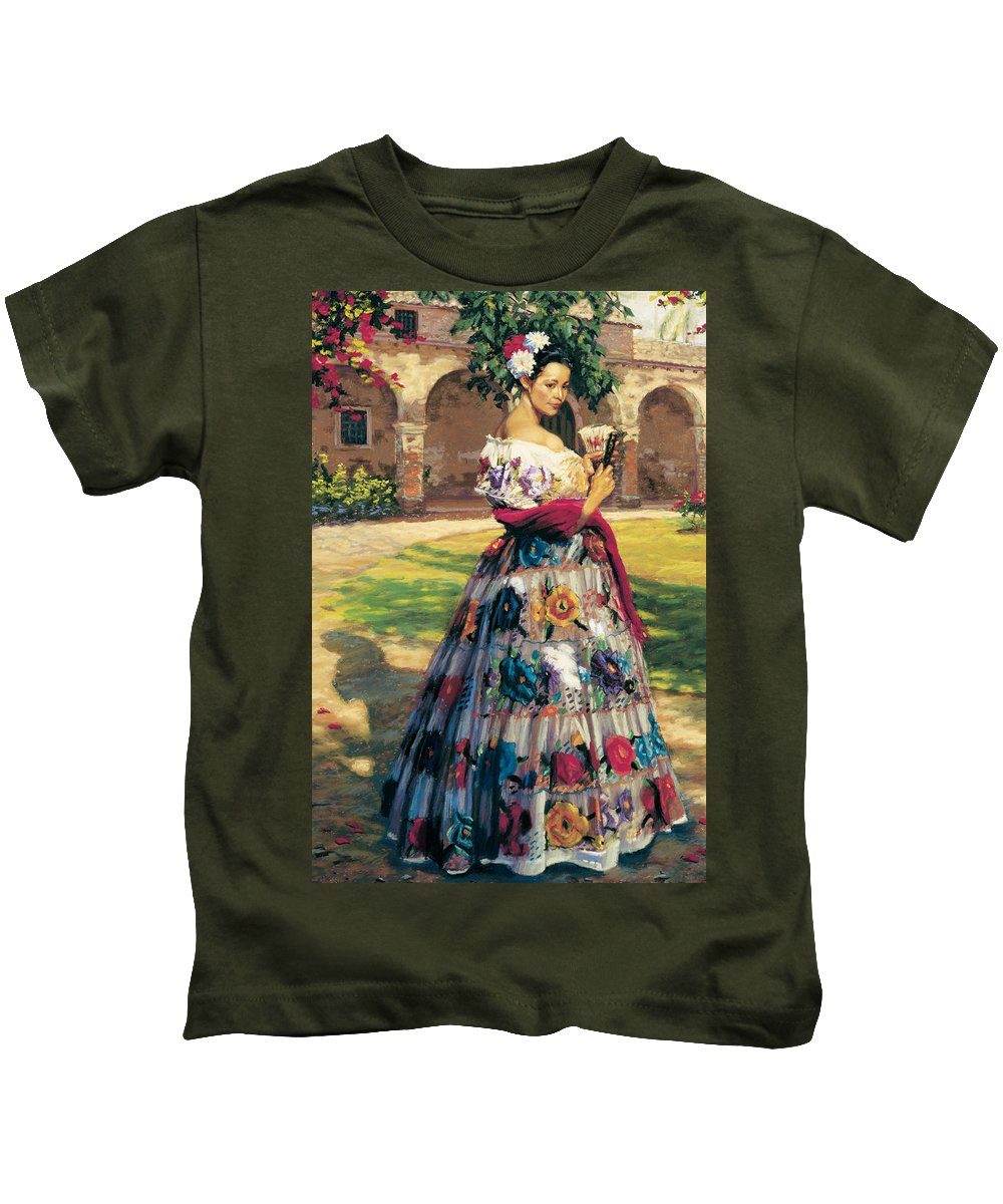 Figure Kids T-Shirt featuring the painting Al Aire Libre by Jean Hildebrant