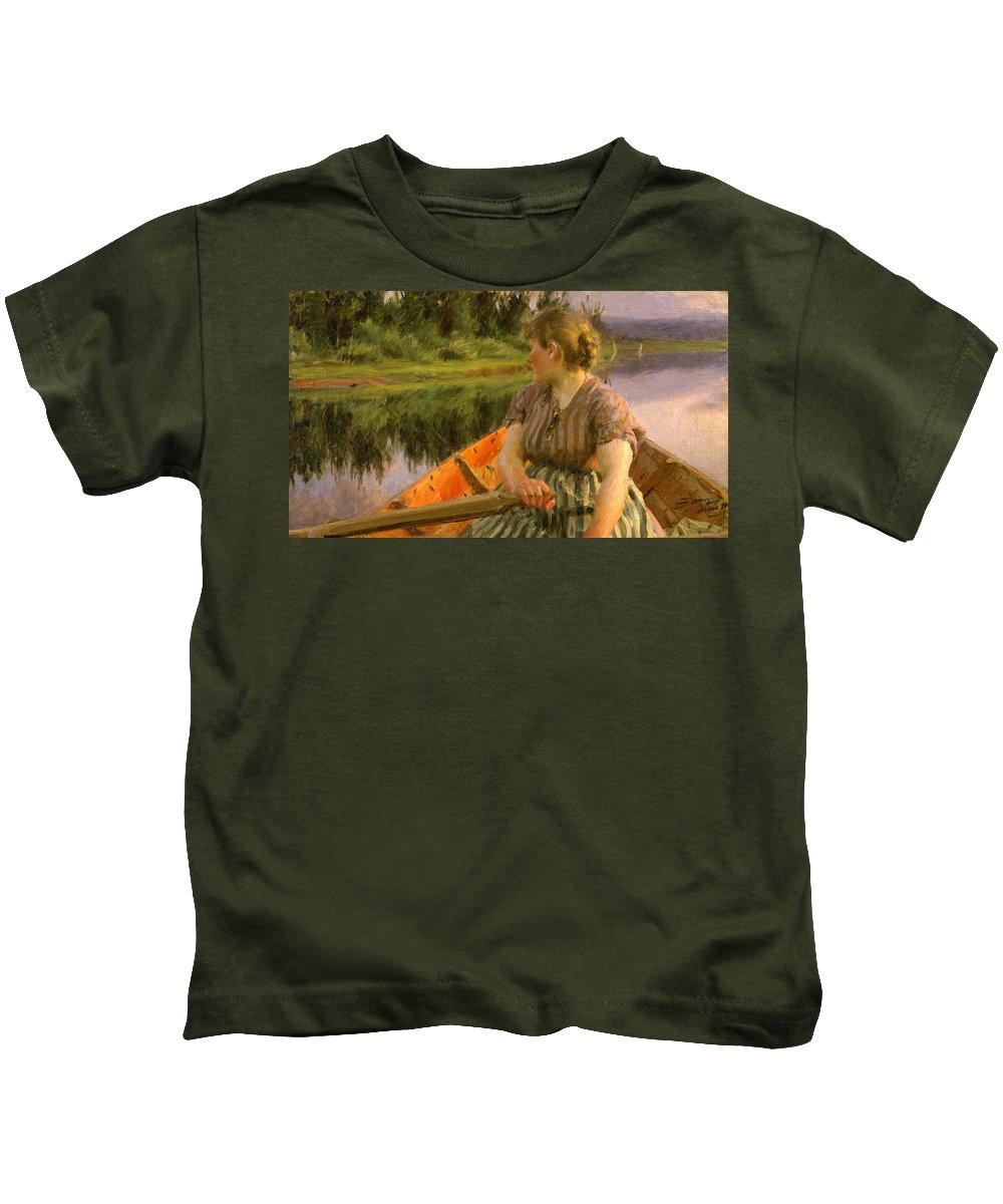 Anders Zorn Kids T-Shirt featuring the painting Boating by Anders Zorn