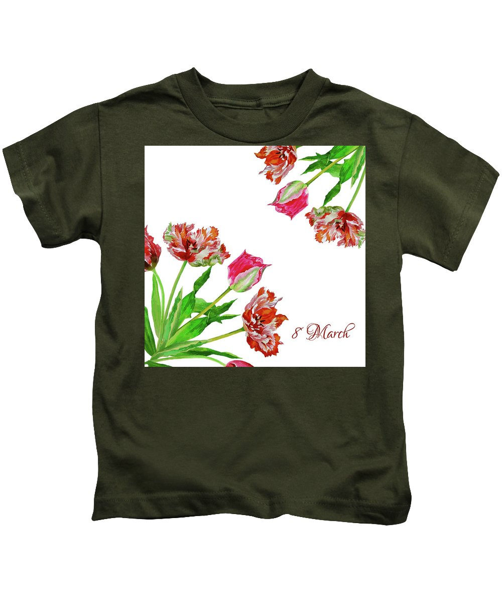 Bouquet Kids T-Shirt featuring the digital art Bouquet Of Tulips by Natalia Piacheva