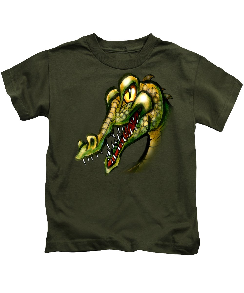 Crocodile Kids T-Shirt featuring the painting Crocodile by Kevin Middleton