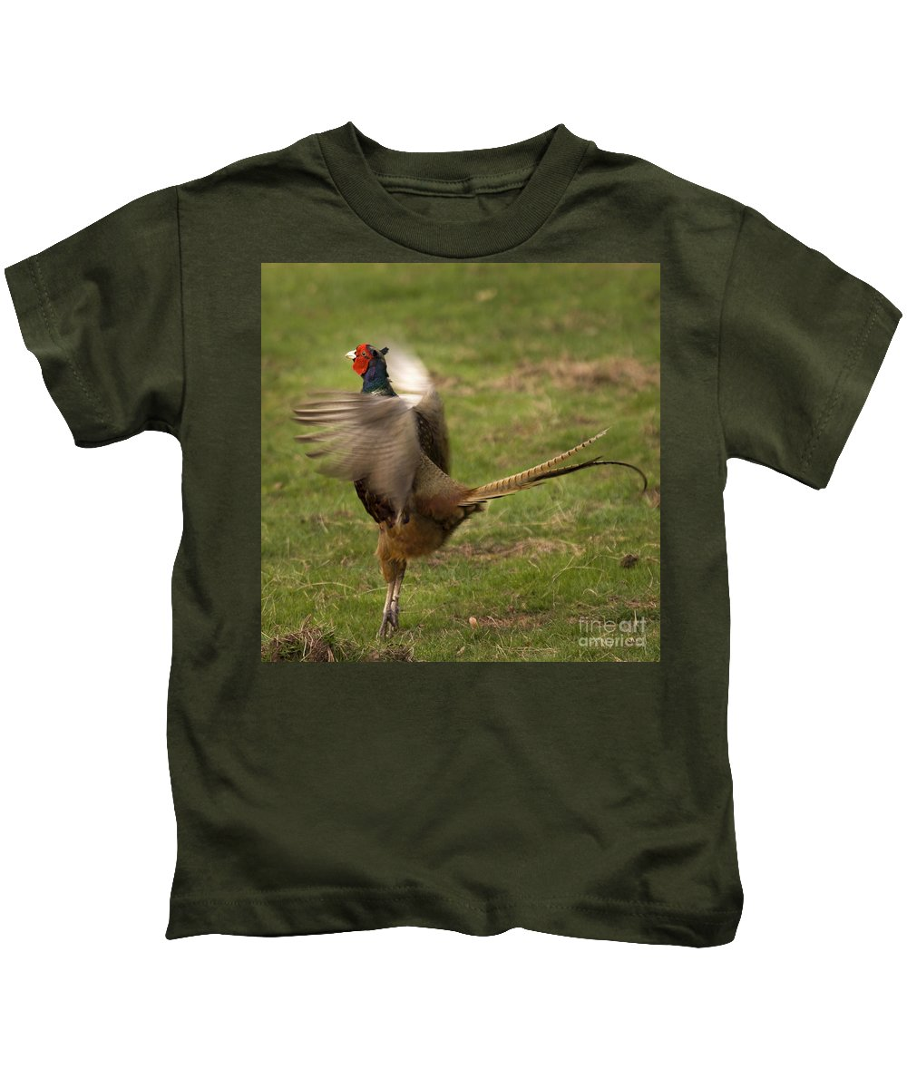 Pheasant Kids T-Shirt featuring the photograph Crowing Pheasant by Angel Ciesniarska