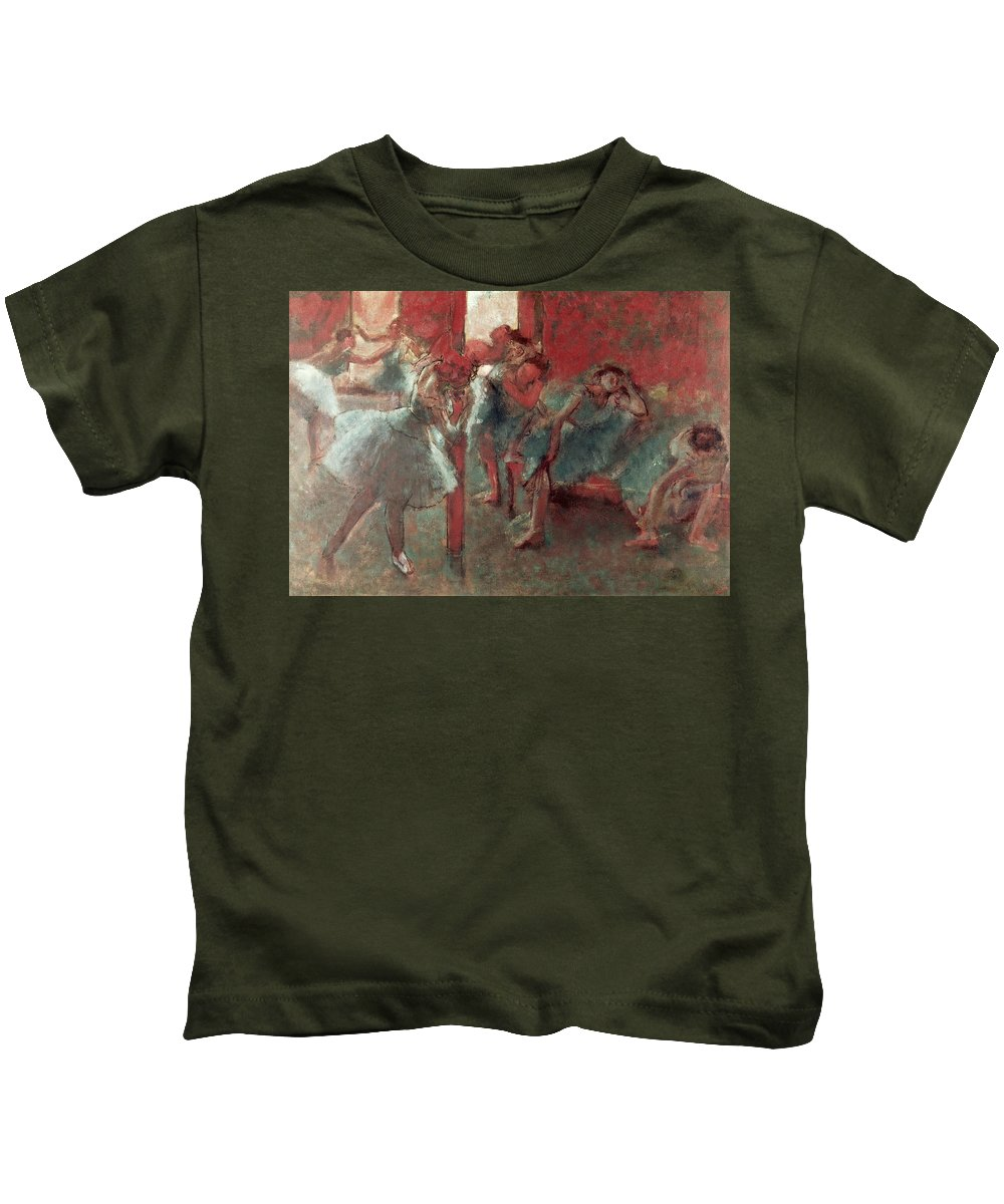 Dancers At Rehearsal Kids T-Shirt featuring the pastel Dancers At Rehearsal by Edgar Degas