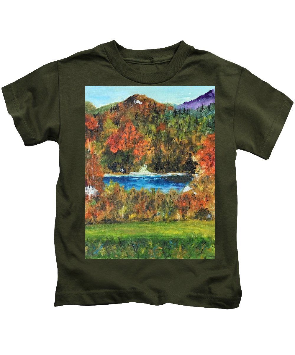 Adirondack Mountains Kids T-Shirt featuring the painting Fall In The Adirondacks by Lucille Valentino
