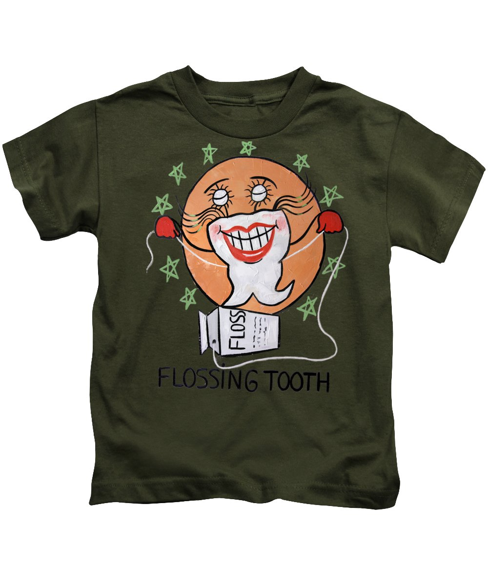 Dental Art T-shirtflossing Tooth Framed Prints Kids T-Shirt featuring the painting Flossing Tooth by Anthony Falbo