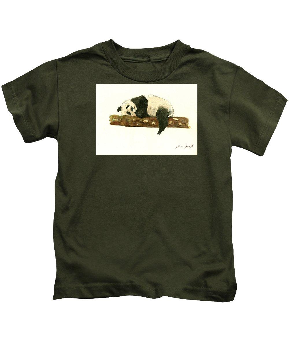 Giant Panda Kids T-Shirt featuring the painting Giant Panda 2 by Juan Bosco