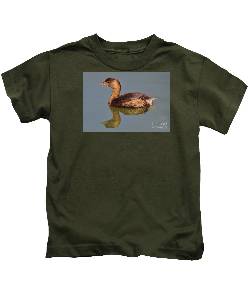 Grebe Kids T-Shirt featuring the photograph Grebe by Paulette Thomas